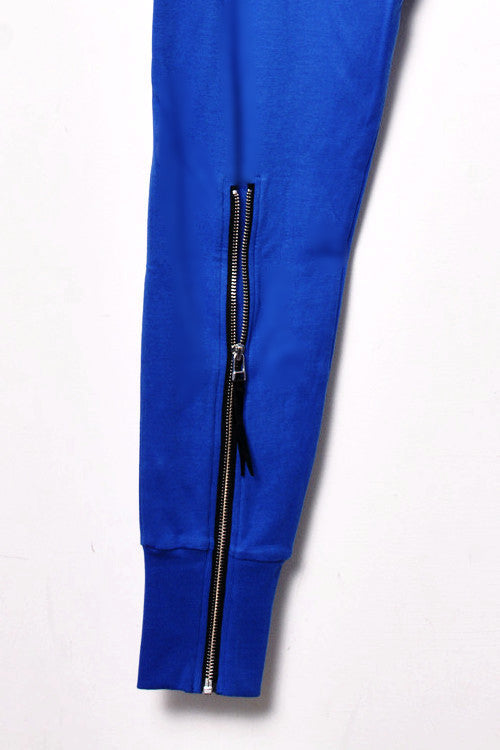 UNCONDITIONAL Lapis Blue Higher crotch heavy jersey trousers with signature back zip.