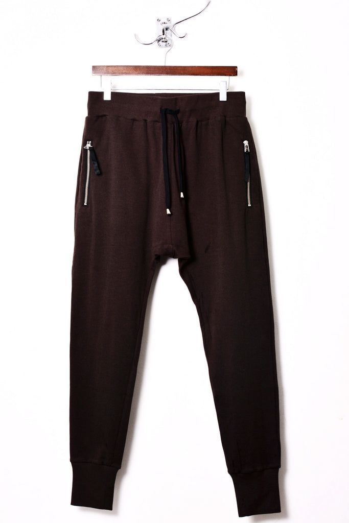 UNCONDITIONAL bitter chocolate full length higher crotch jersey trouser with zip up back pockets.