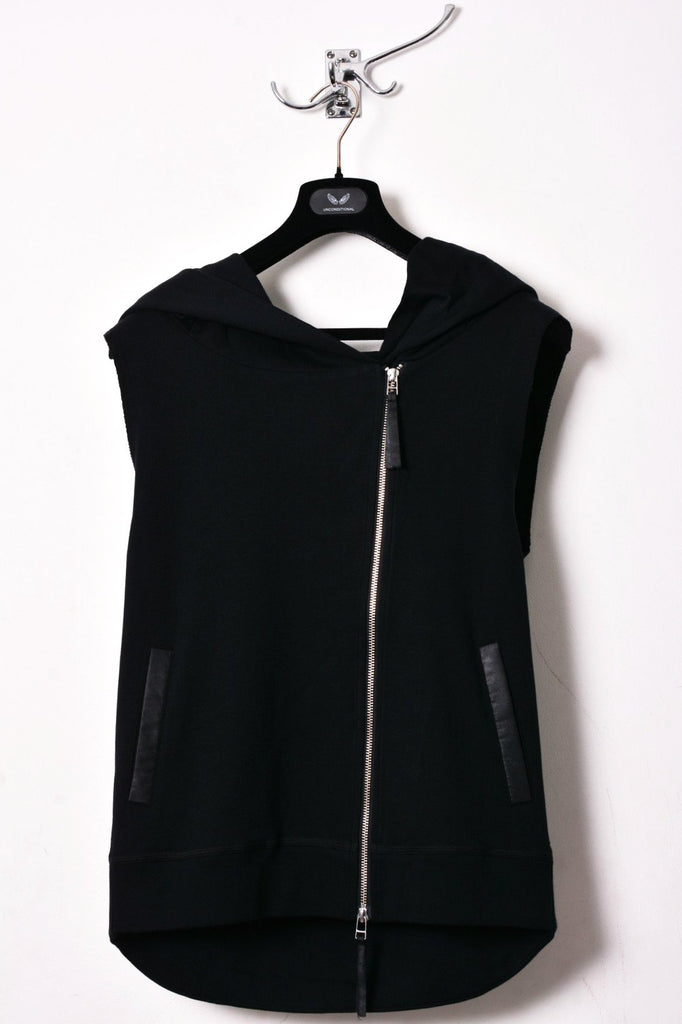 UNCONDITIONAL Black sleeveless heavy jersey biker hoodie with an oversized hoodie.