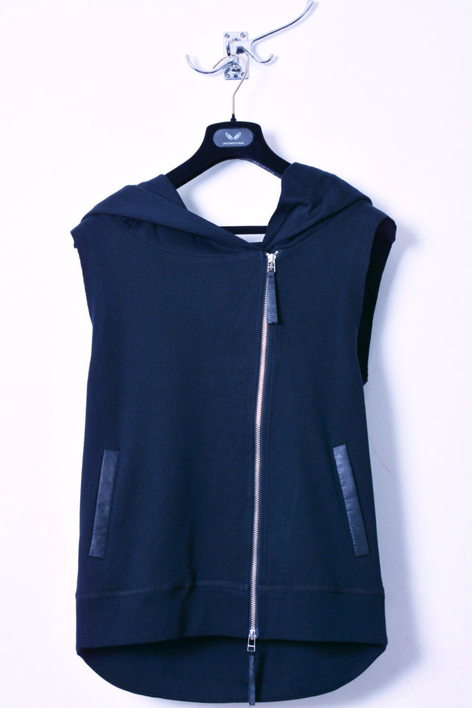 UNCONDITIONAL Petrol blue sleeveless heavy jersey biker hoodie with an oversized hoodie.
