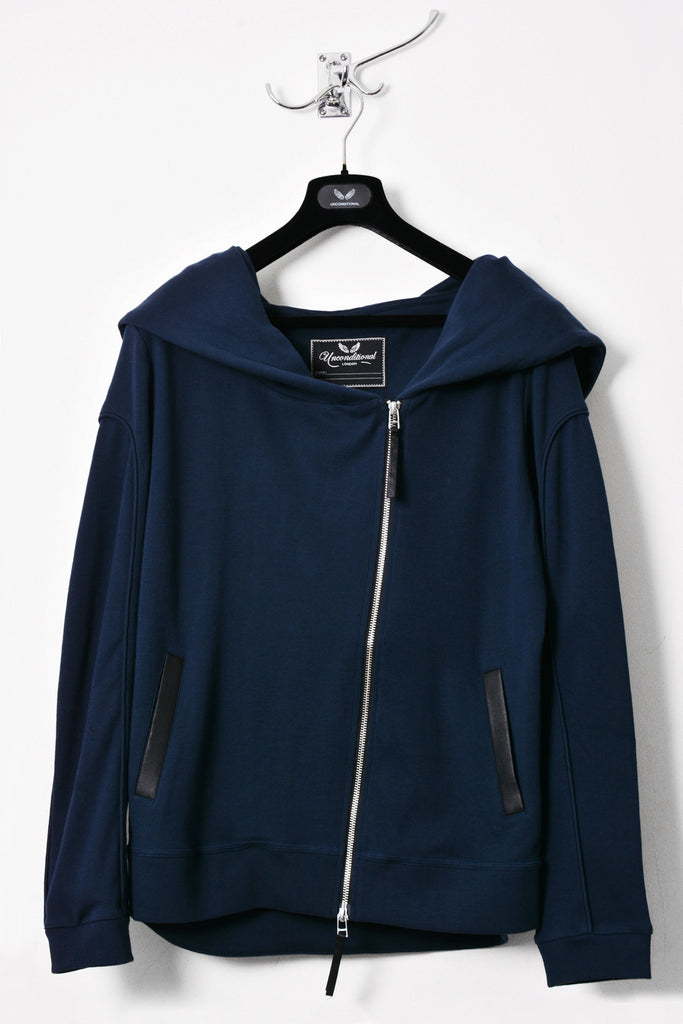 UNCONDITIONAL Petrol blue heavy jersey biker hoodie with an oversized hoodie.