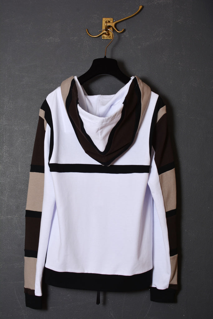 UNCONDITIONAL tribal harness hoodie in white base with linen , black and bitter chocolate stripes