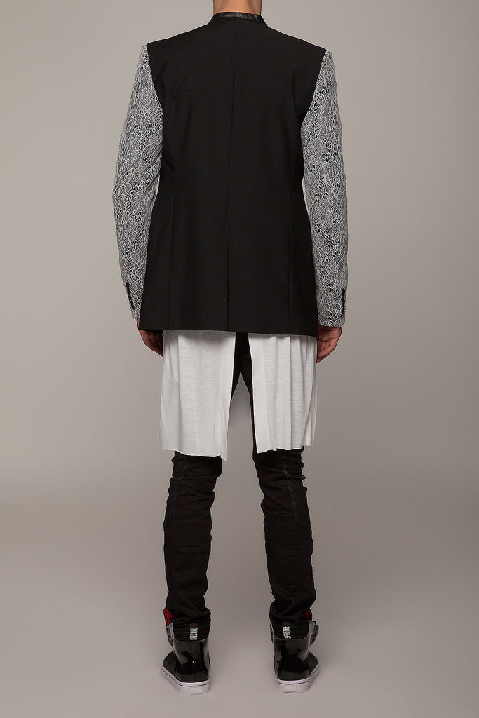 UNCONDITIONAL black cutaway jacket with veiled white lace sleeves