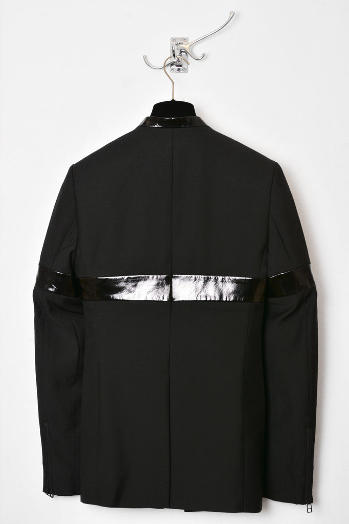 UNCONDITIONAL AW19 Black | Black patent leather stripe 'line of beauty' jacket