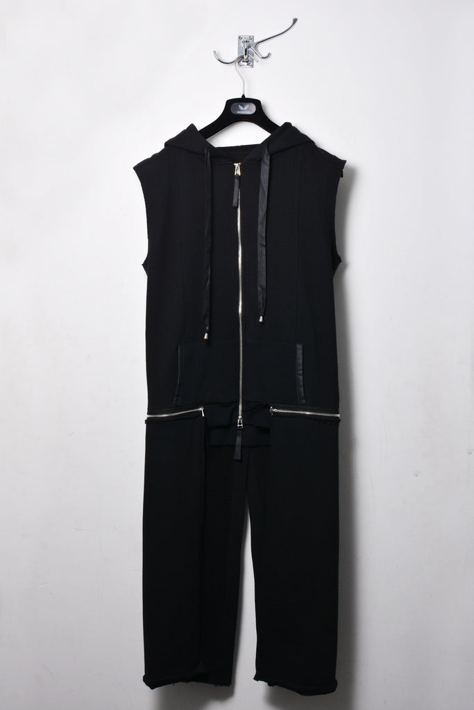 UNCONDITIONAL Black sleeveless zip off tailcoat hoodie
