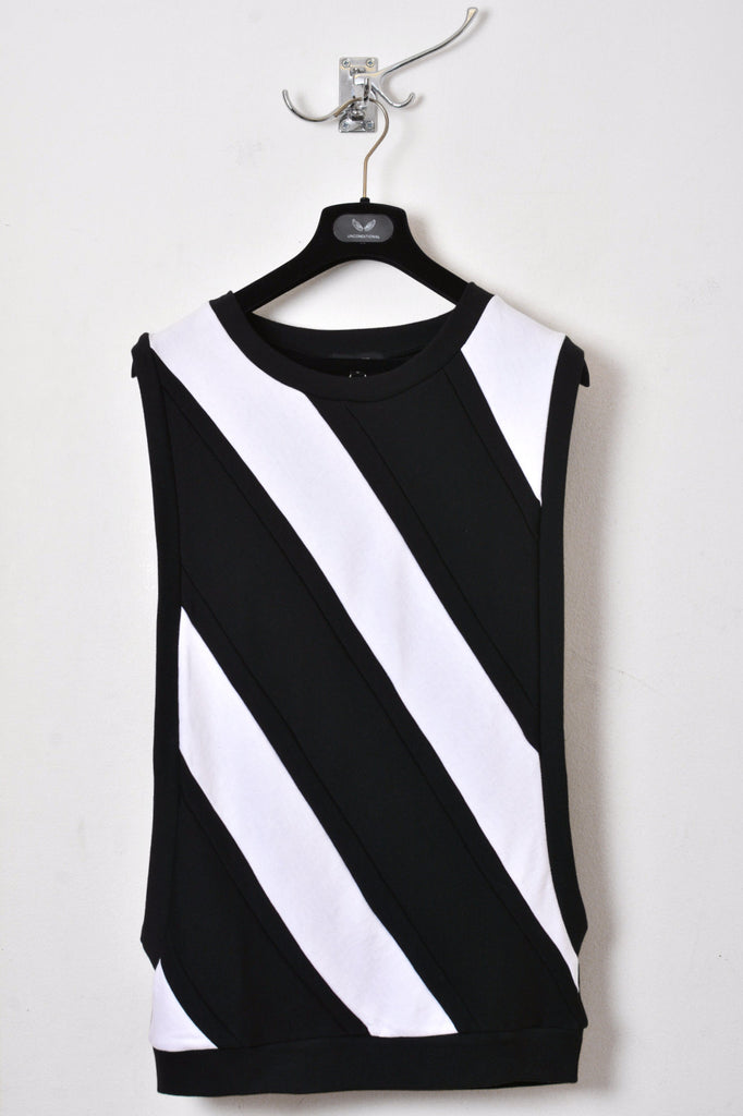 UNCONDITIONAL black and white open sided striped sweat shirting jumper.