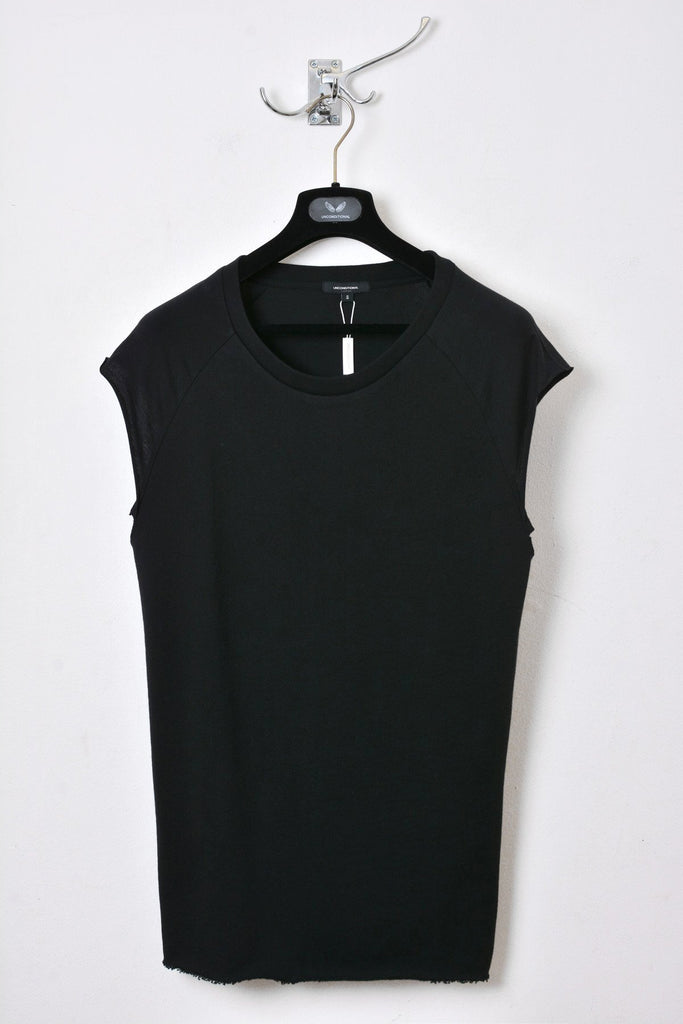 UNCONDITIONAL AW15 black sweat shirting and jersey sleeveless raglan tee