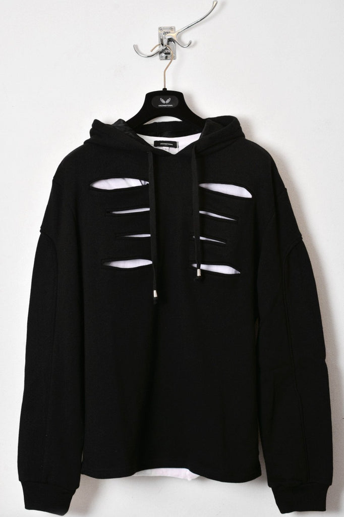 UNCONDITIONAL AW18 Black slash front hoodie with back zip