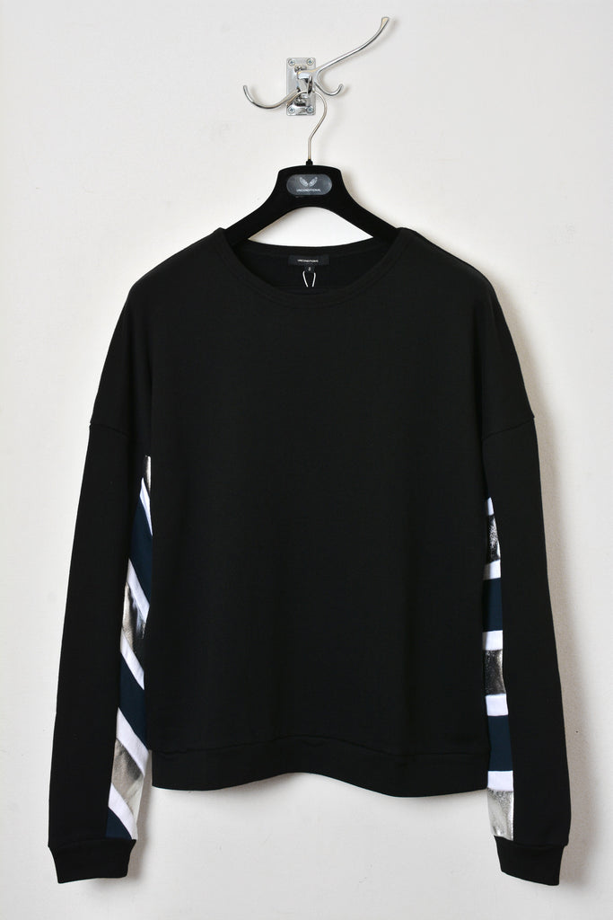 UNCONDITIONAL SS17 Black sweatshirt with petrol, silver and white striped sleeves