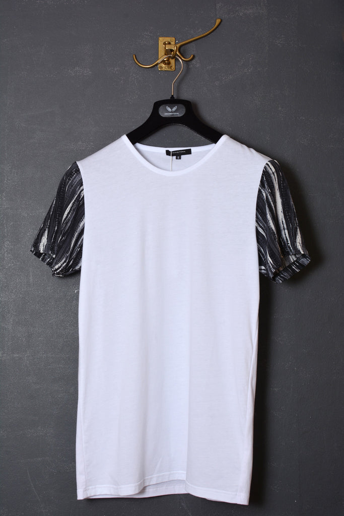 UNCONDITIONAL white crew neck cotton t-shirt with printed matt silk crepe sleeves