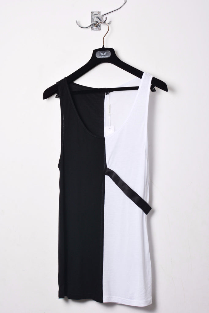 UNCONDITIONAL SS20 Black and white rayon two tone split vest with elastic chest loop.