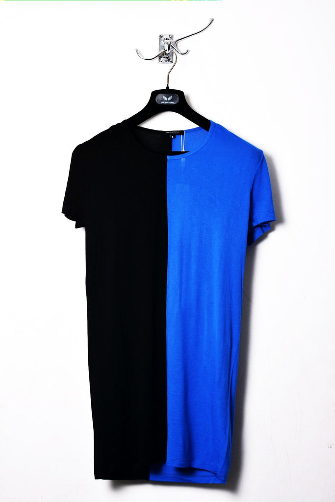 UNCONDITIONAL black and lapis rayon two tone split T-shirt