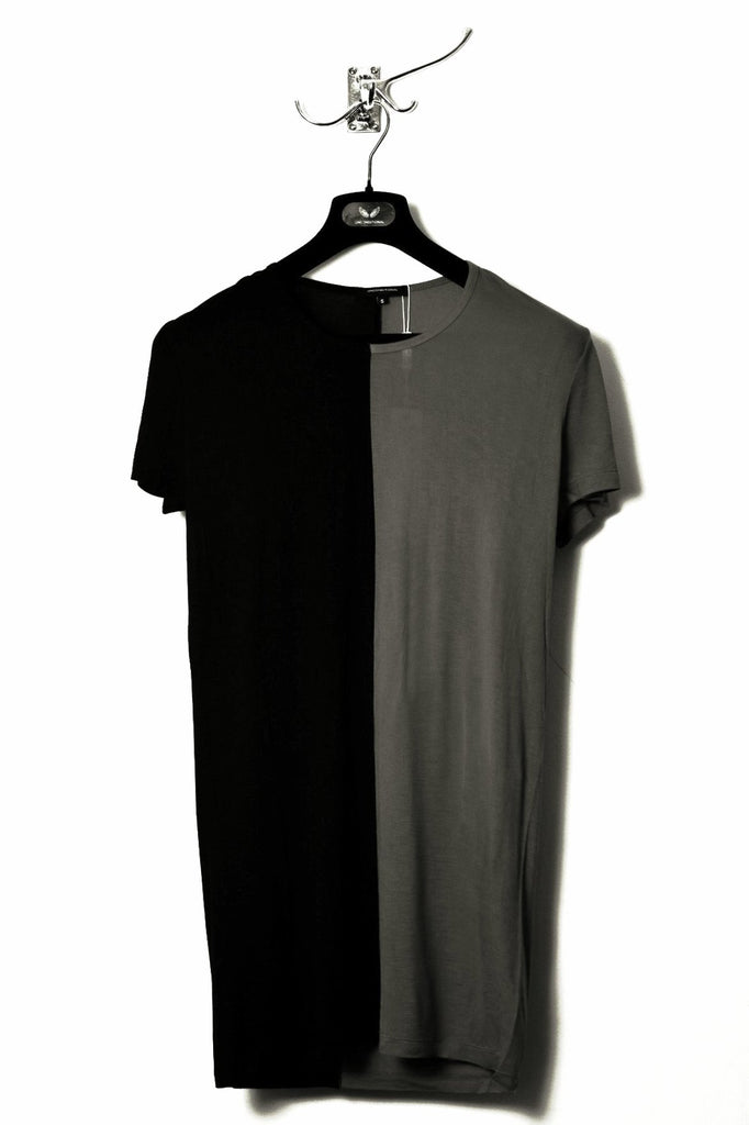 UNCONDITIONAL SS18 Military and Black rayon two tone split T-shirt