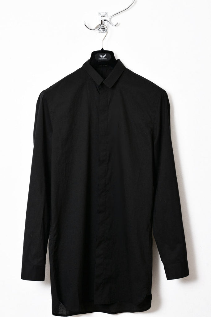 UNCONDITIONAL SS17 Black Italian light cotton loose fit shirt.