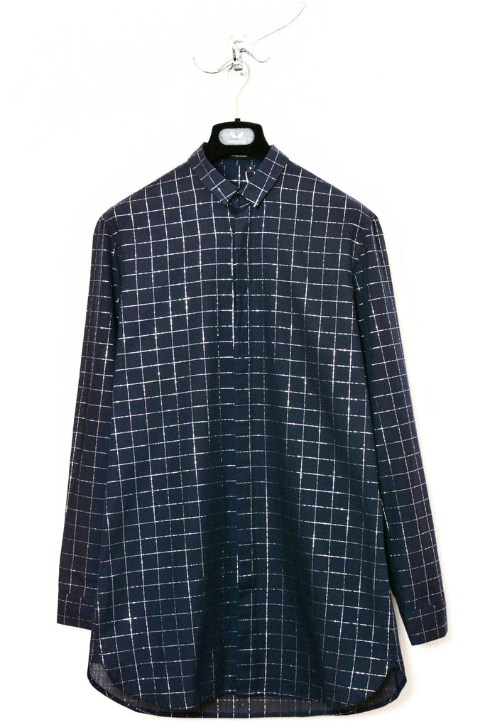 UNCONDITIONAL Dark navy lightweight cotton voile loose fit shirt with a silver grid check