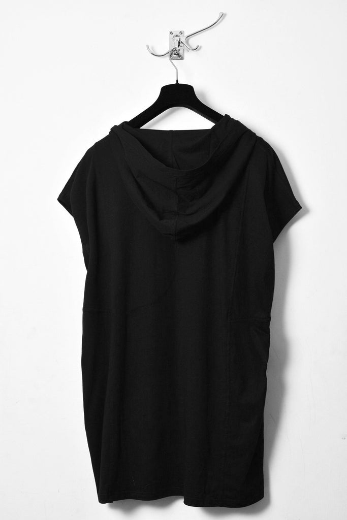 UNCONDITIONAL SS20 black hooded tunic.