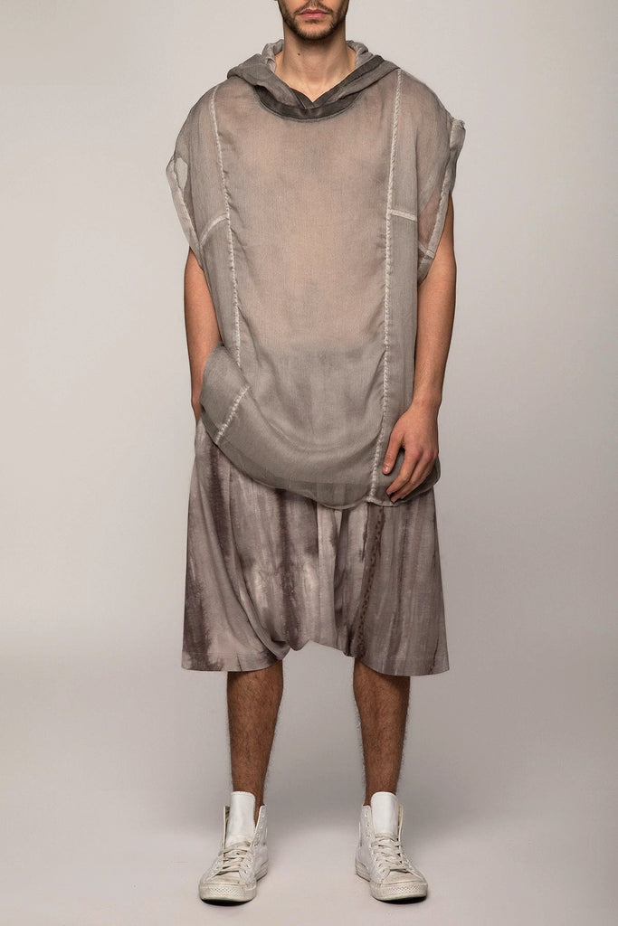 UNCONDITIONAL Cold dyed crinkle chiffon hooded sleeveless tunic.