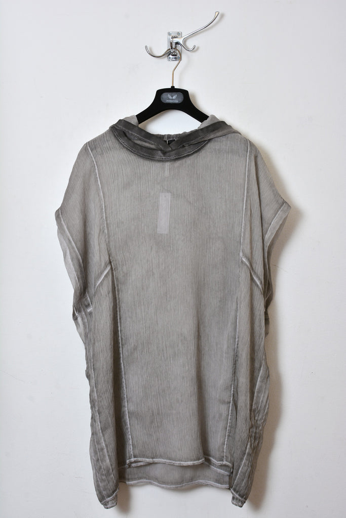 UNCONDITIONAL cold dye desert sand crinkle chiffon hooded sleeveless tunic.