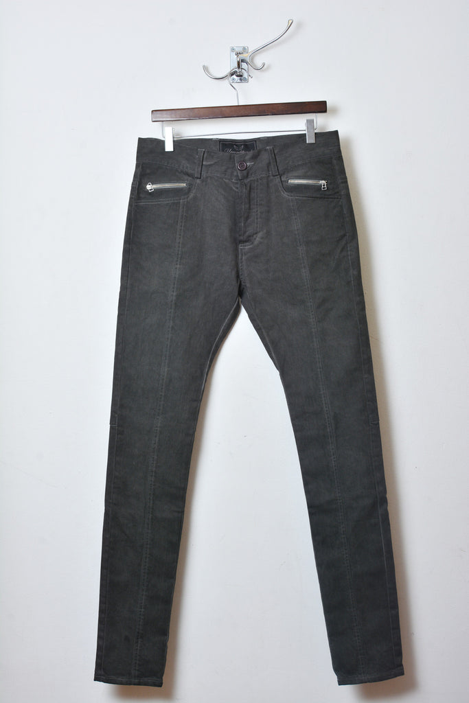 UNCONDITIONAL Military-grey cold dye stretch drill slim fit jeans.
