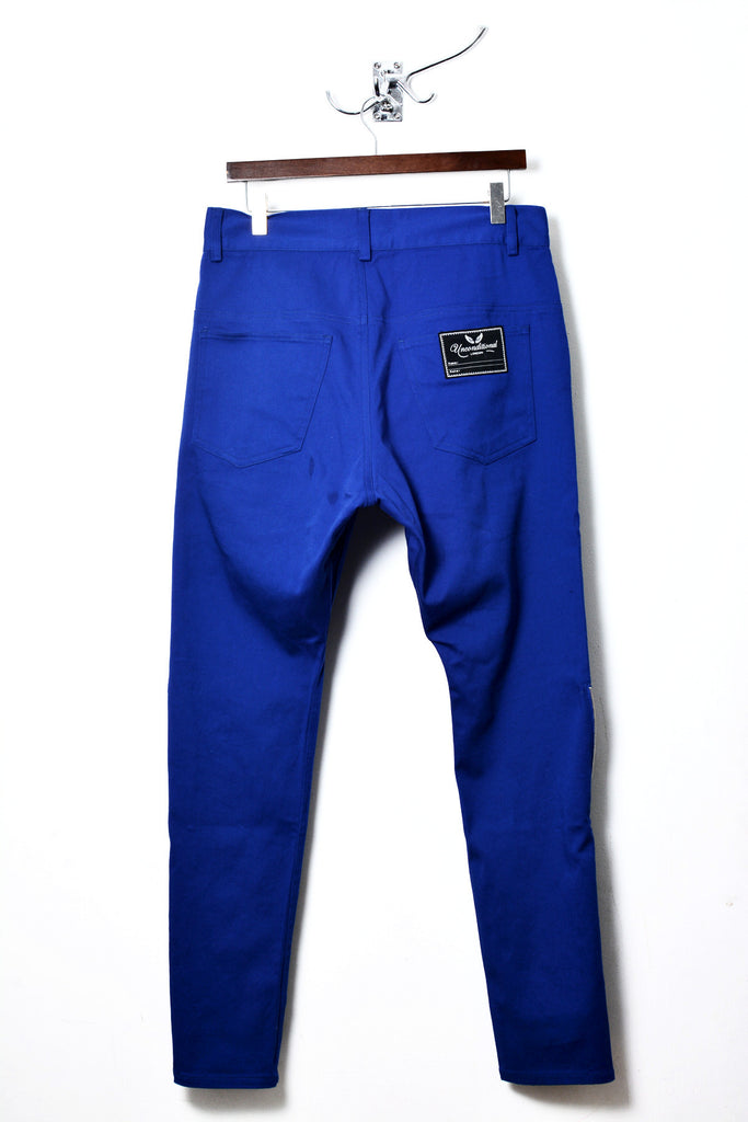 UNCONDITIONAL's signature side zip dropped crotch jeans in Azure light stretch denim