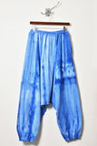 UNCONDITIONAL blue spray striped elasticated cuff mens harem trousers.
