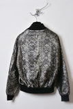 UNCONDITIONAL Ladies military foiled snake print cotton mix varsity jacket