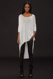 UNCONDITIONAL white fine tencel long tail tee.