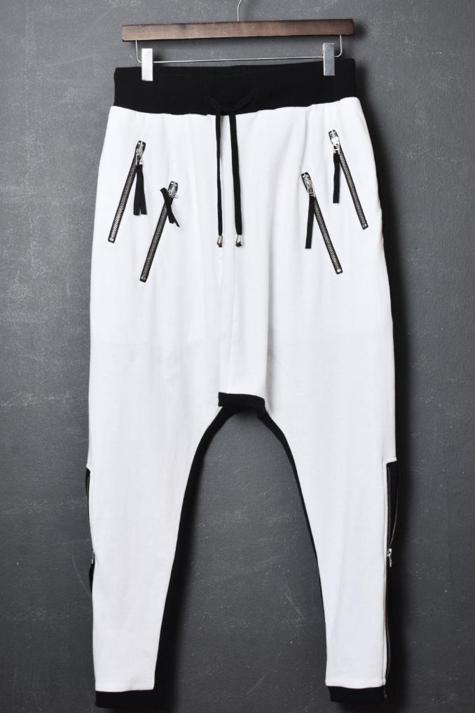 UNCONDITIONAL White-Black, contrast back drop crotch side zip trousers ; double zip pockets