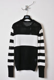 UNCONDITIONAL black and off white cashmere cotton knitted solid and mesh striped sweater