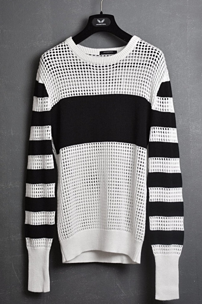 UNCONDITIONAL off white and black cashmere cotton solid and mesh striped sweater