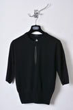 UNCONDITIONAL black grade A cashmere knitted short sleeved jumper with slashes.