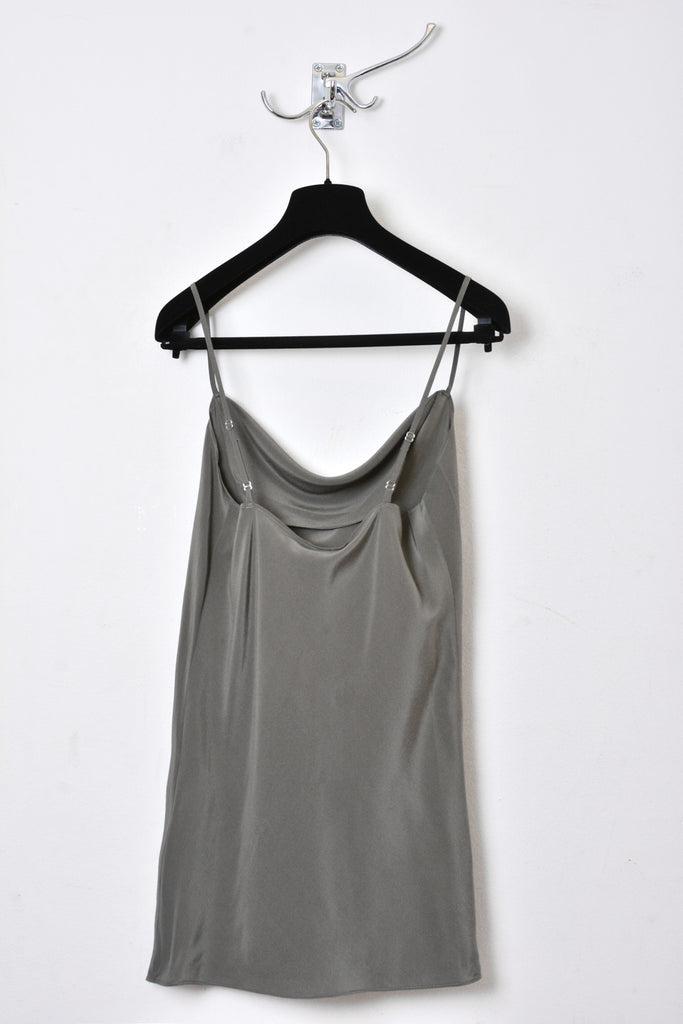UNCONDITIONAL SS18 army light silk front drape camisole.