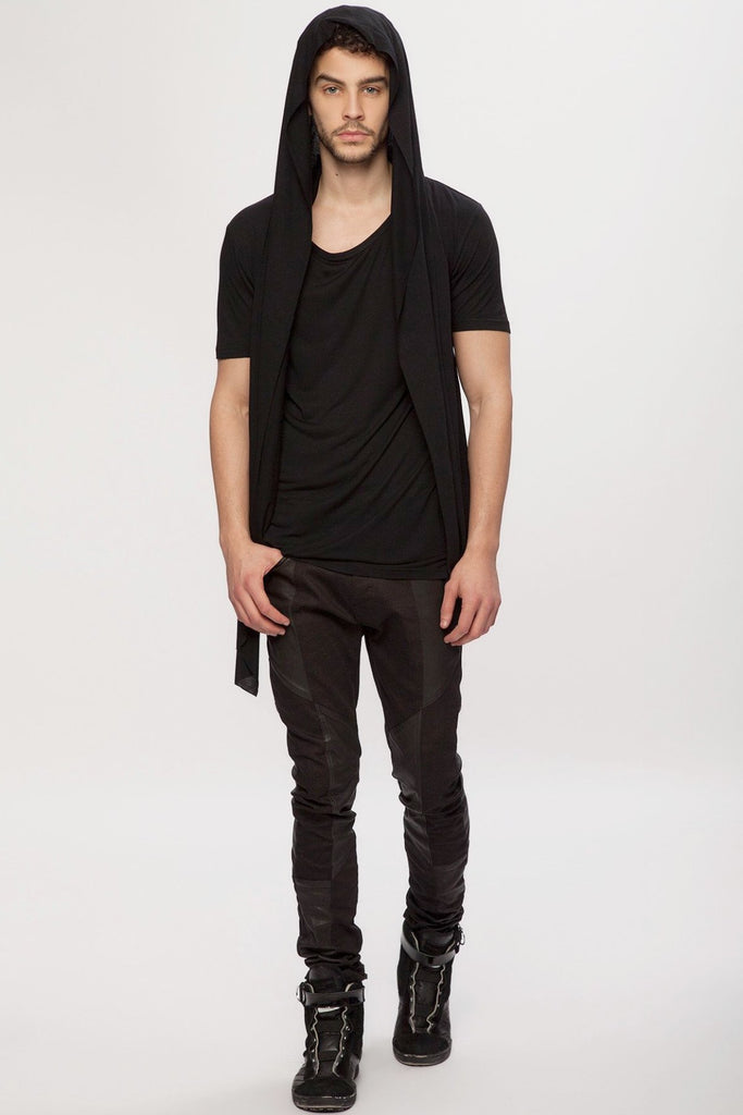 UNCONDITIONAL black rayon hooded cape waistcoat t-shirt.