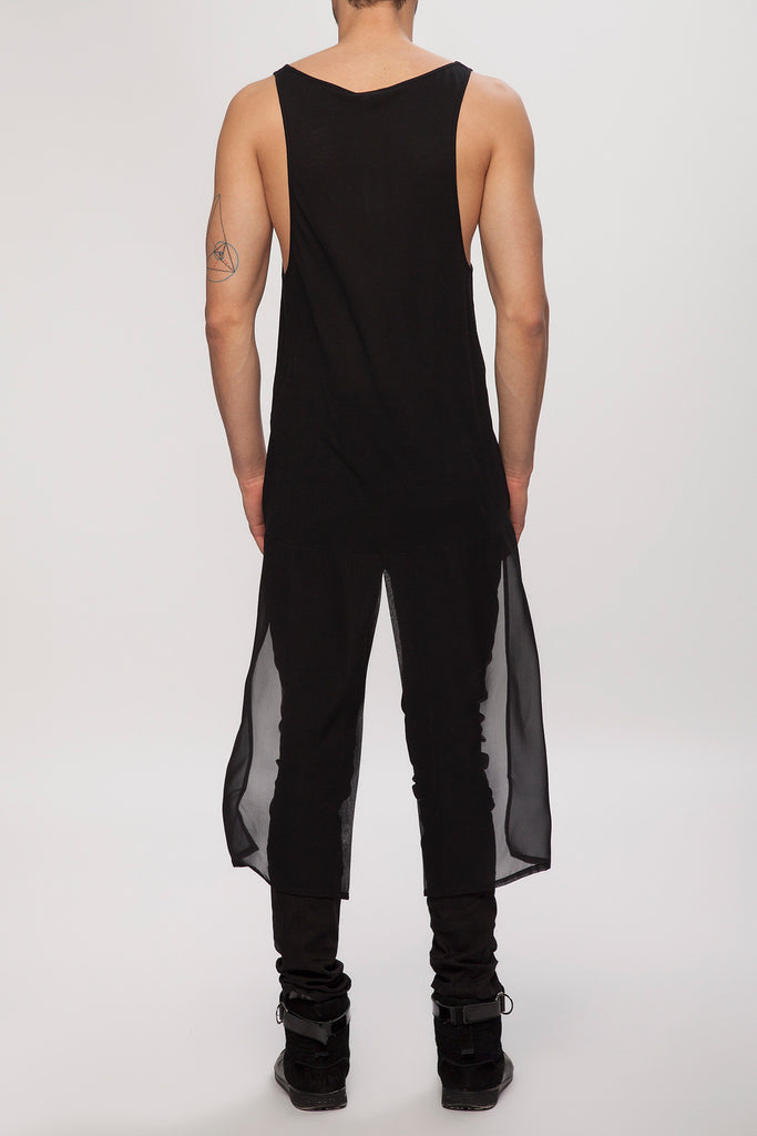 UNCONDITIONAL  Black vest with long split silk georgette tail