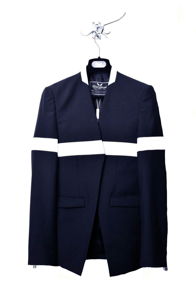 UNCONDITIONAL French Navy and white patent leather 'line of beauty' jacket