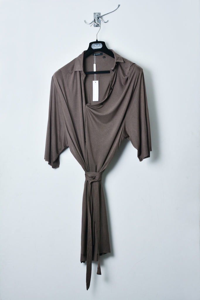 UNCONDITIONAL dirt rayon belted oversized open side draped shirt
