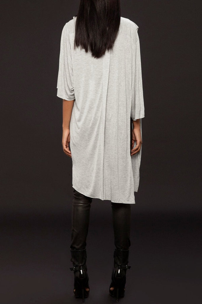 UNCONDITIONAL flannel rayon belted oversized open side draped shirt