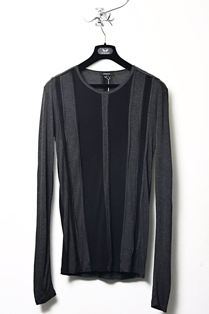 UNCONDITIONAL black and charcoal patchwork striped long sleeved tee.