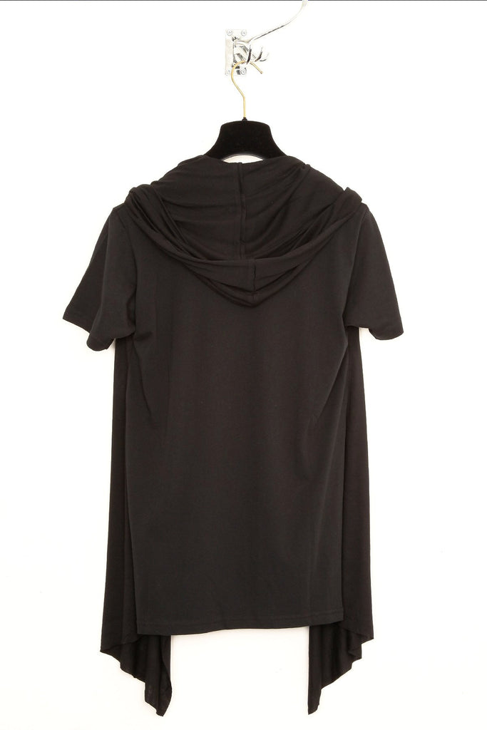 UNCONDITIONAL Black rayon hooded cape drape waistcoat T-shirt. R79