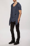 UNCONDITIONAL Slate blue rayon hooded cape waistcoat t-shirt.