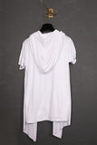 UNCONDITIONAL White rayon hooded, drape waistcoat T-shirt