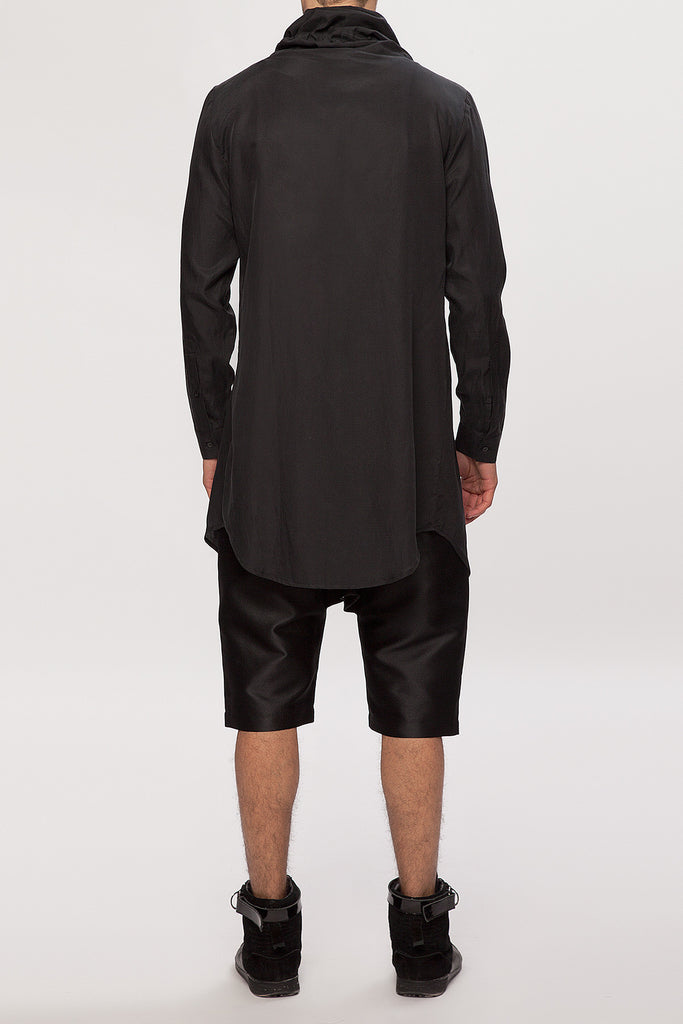 UNCONDITIONAL SS18 Black long funnel neck cotton voile shirt.