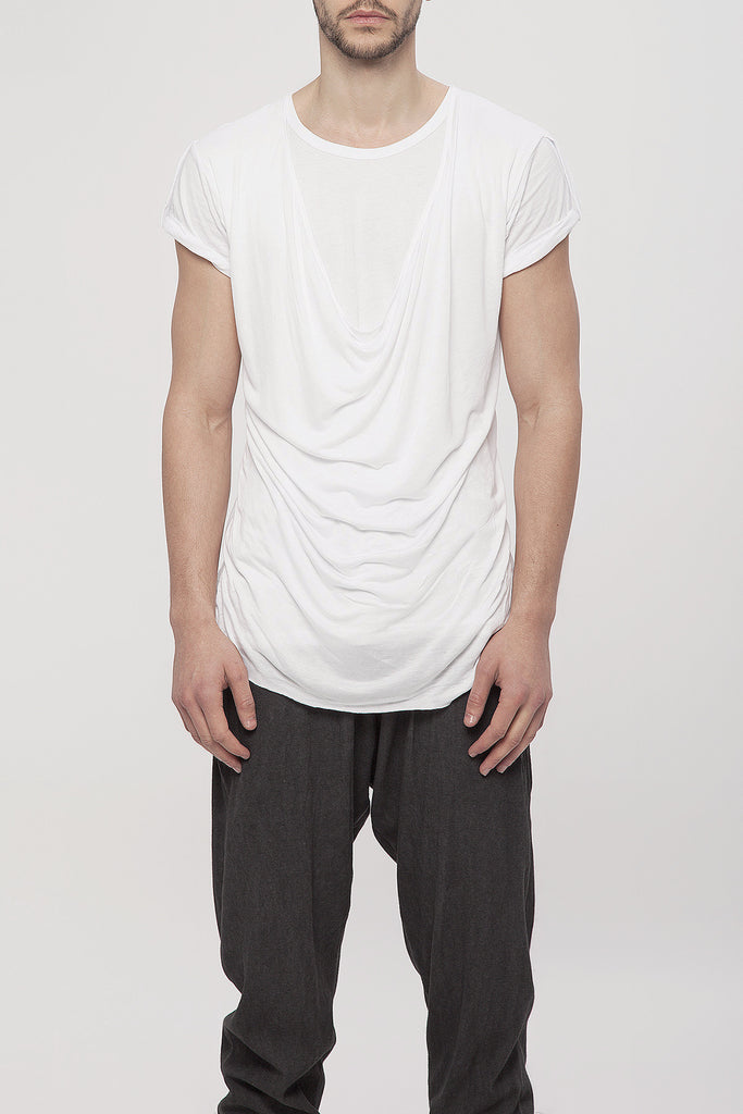 UNCONDITIONAL AW16 white short sleeve double front drape crew neck t-shirt
