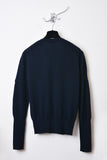 UNCONDITIONAL Midnight Blue cashmere V neck sweater with signature neck rib details