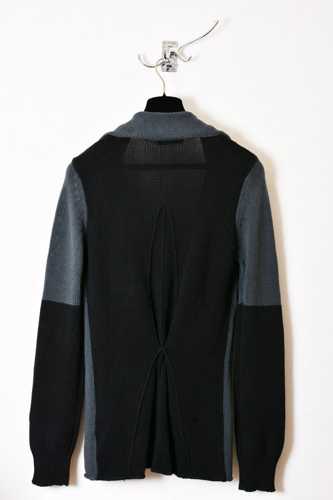 UNCONDITIONAL dark grey and black diamond back cotton knitted jacket.