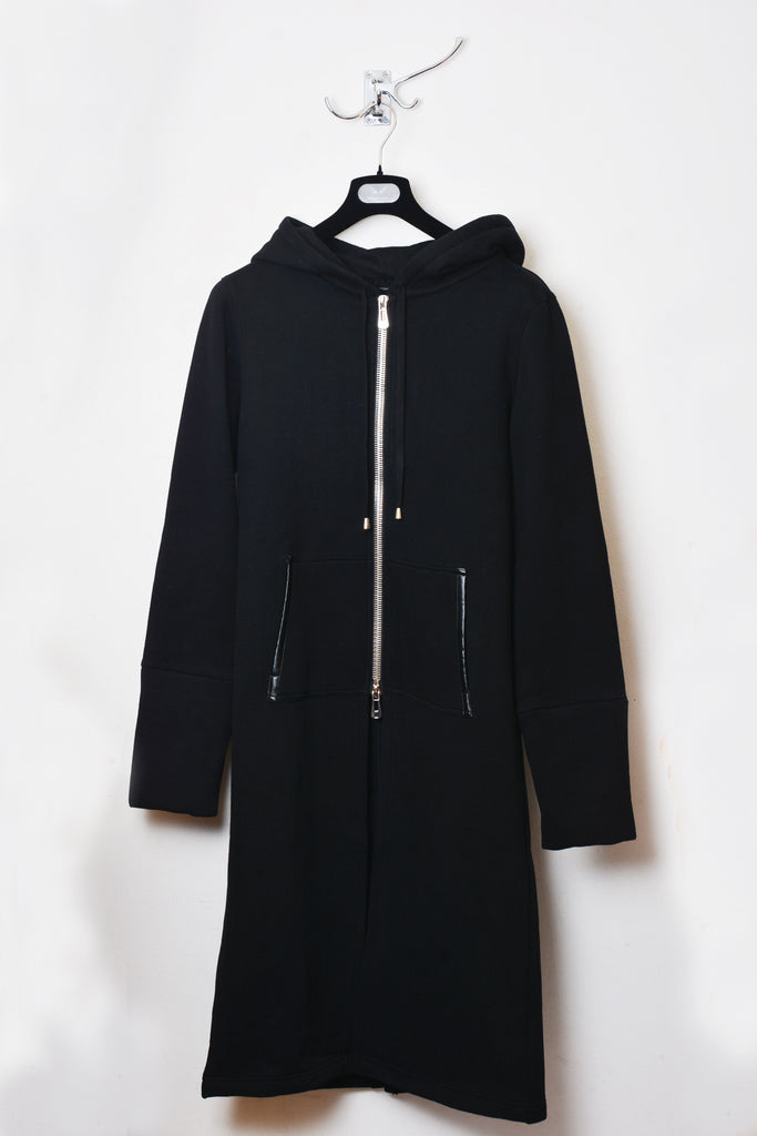 UNCONDITIONAL AW17 black long black sweat shirting hooded coat with heavy zip.