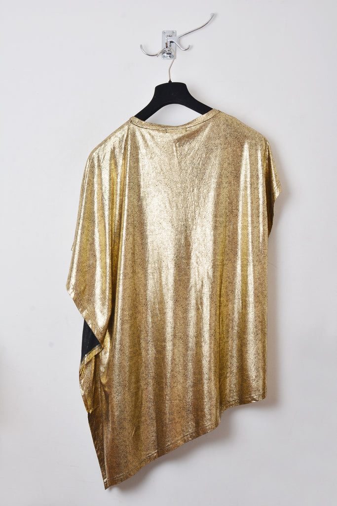 UNCONDITIONAL SS19 gold foiled crew neck rayon fin t-shirt.