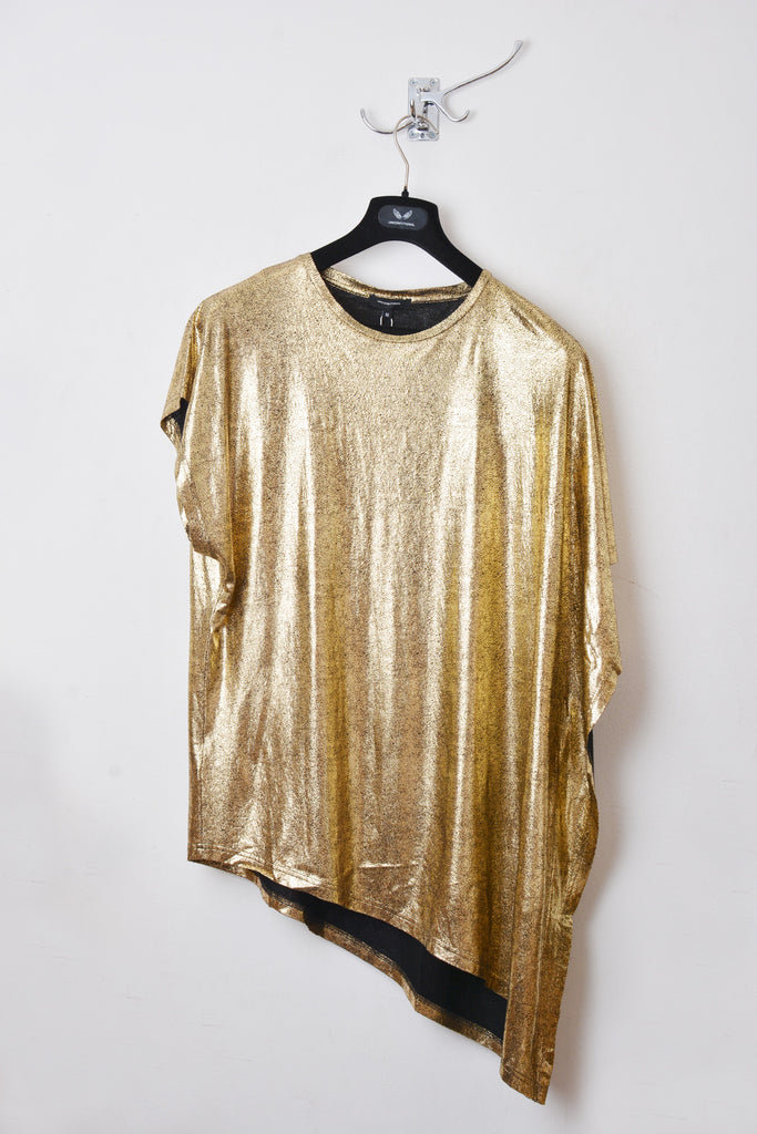 UNCONDITIONAL SS19 gold foiled crew neck fin t-shirt.