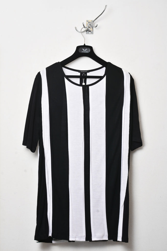 UNCONDITIONAL SS18 BLACK AND WHITE STRIPED PATCHWORK TEE.