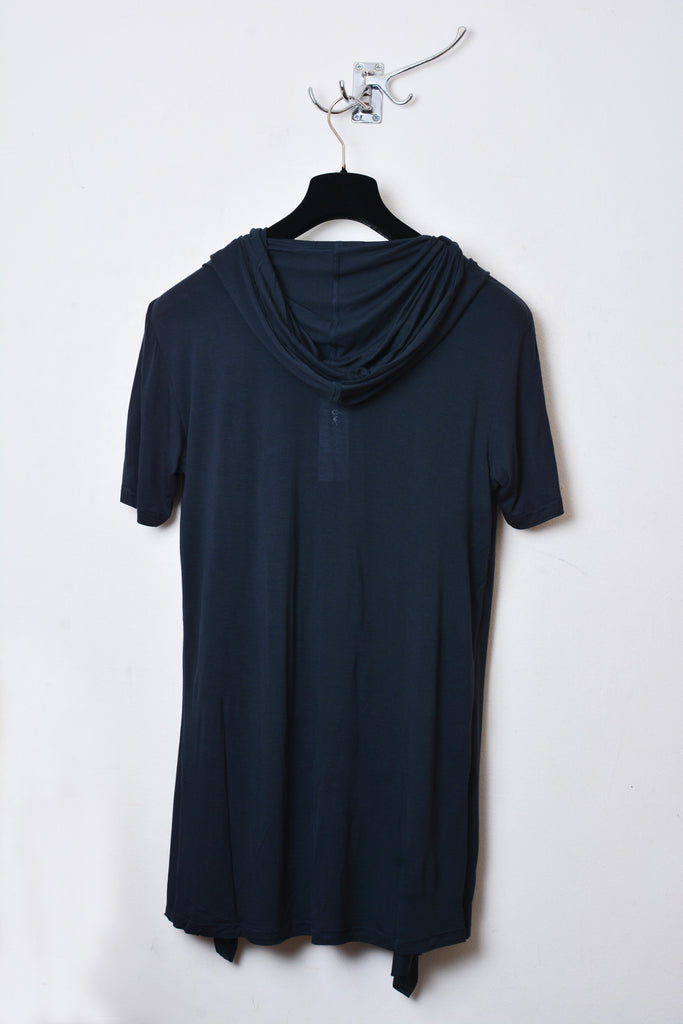UNCONDITIONAL Dark grey rayon hooded cape waistcoat t-shirt.